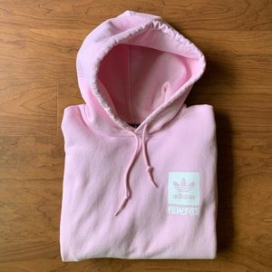 ADIDAS Mens Baby Pink Hoodie, Size M